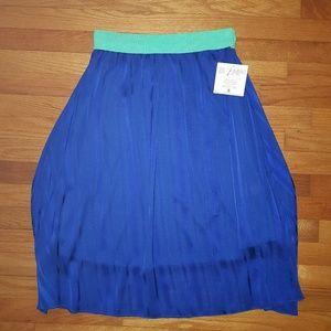 NWT LuLaRoe Lola Skirt Small Blue Teal Waist Band